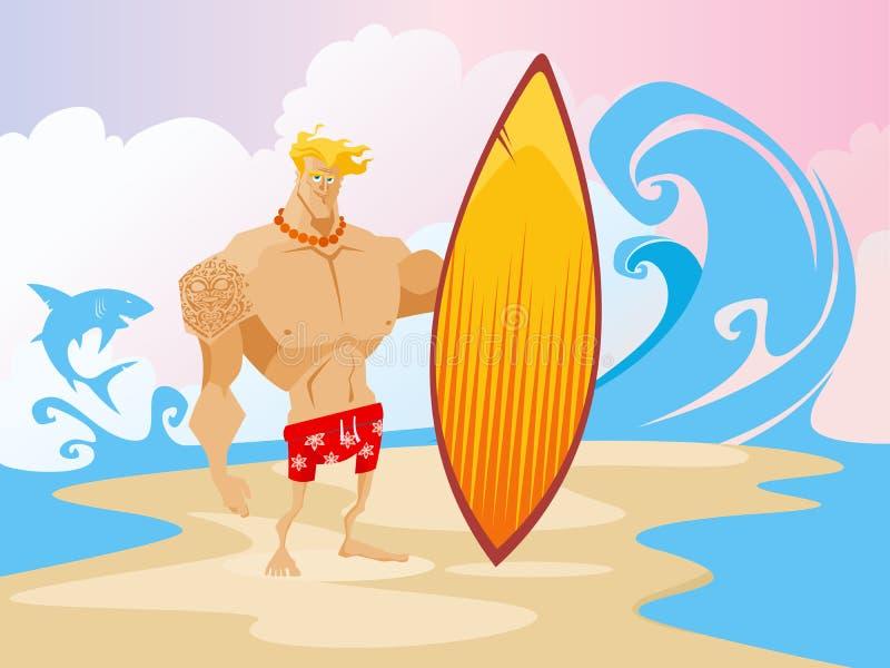 Surfer op het Strand Caracter stock illustratie