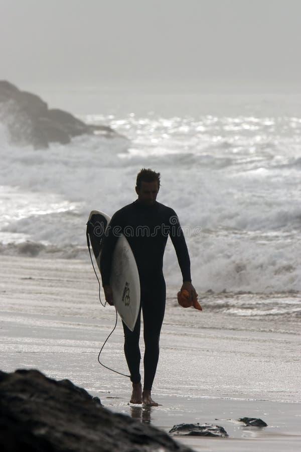 Surfer op Punt Mugu stock foto's