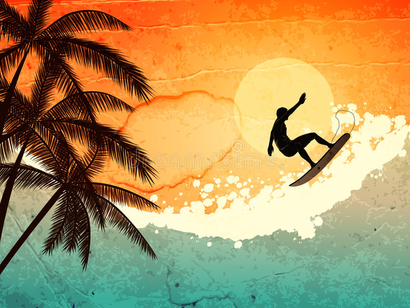 Download Surfer, Palms And Sea Royalty Free Stock Images - Image: 25372029