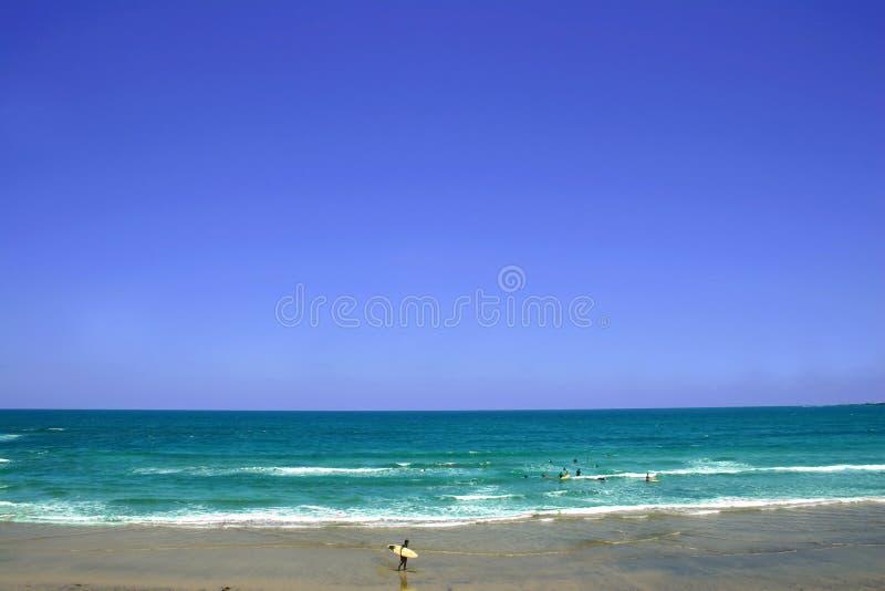 Surfer par la mer photographie stock