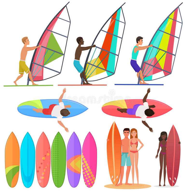Surfer people collection. Surfboards, top and front views of riding on the waves. Surfing couple Vector illustration. stock illustration