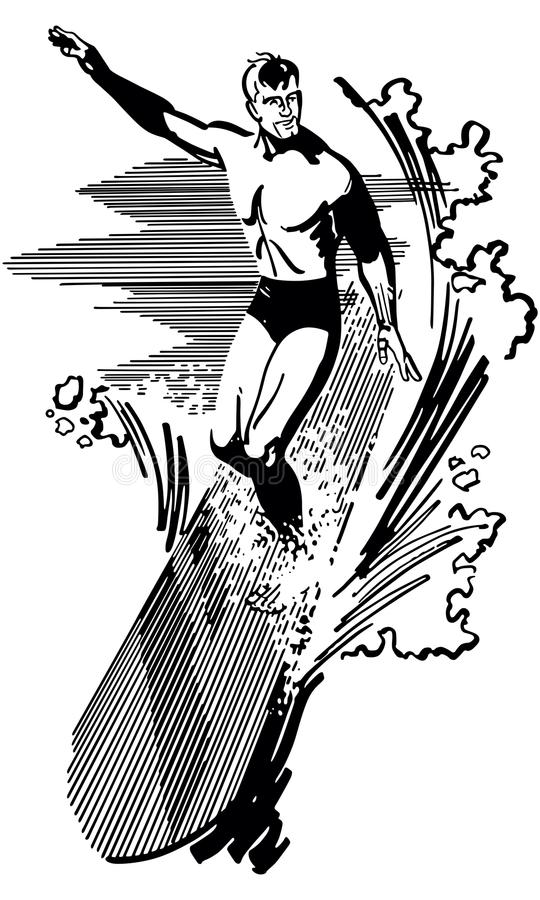 Surfer. Retro Clip Art Illustration - Very fit man riding a large wave on a surfboard royalty free illustration