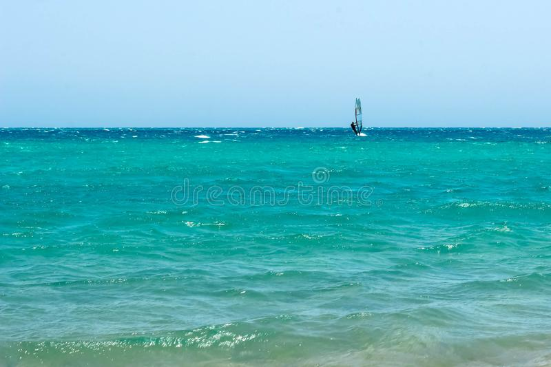 The surfer rides a serferny board under a sail on open water. Clear blue sky, turquoise water of the ocean. Waves and foam on a royalty free stock photos