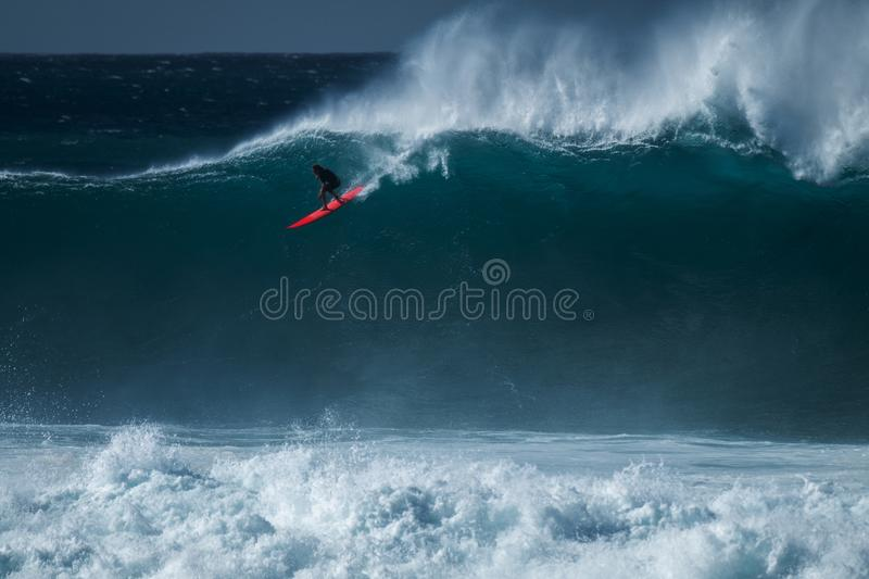 Surfer rides the wave royalty free stock image