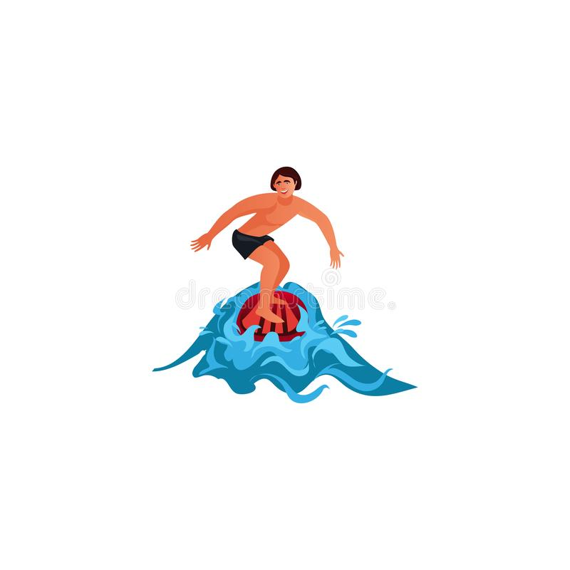 Surfer riding the wave. Raster illustration in flat cartoon style. Young surf guy with surfboard riding on the crest wave. Surfer in action. Isolated raster icon vector illustration