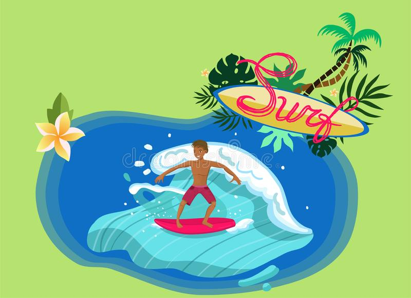 Surfer riding wave with red board vector image royalty free illustration