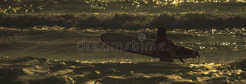 Surfer`s morning stock image
