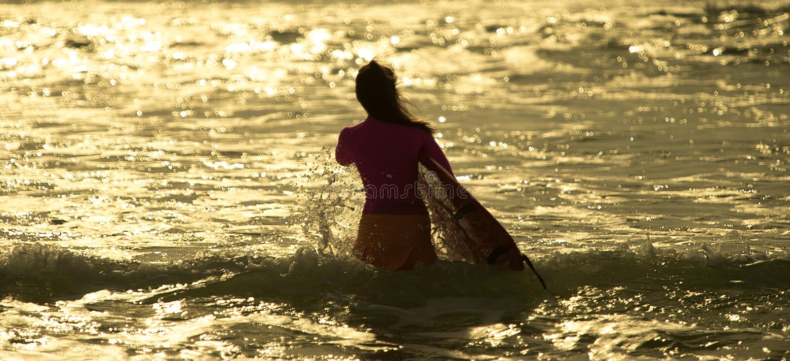 Surfer`s morning stock photography