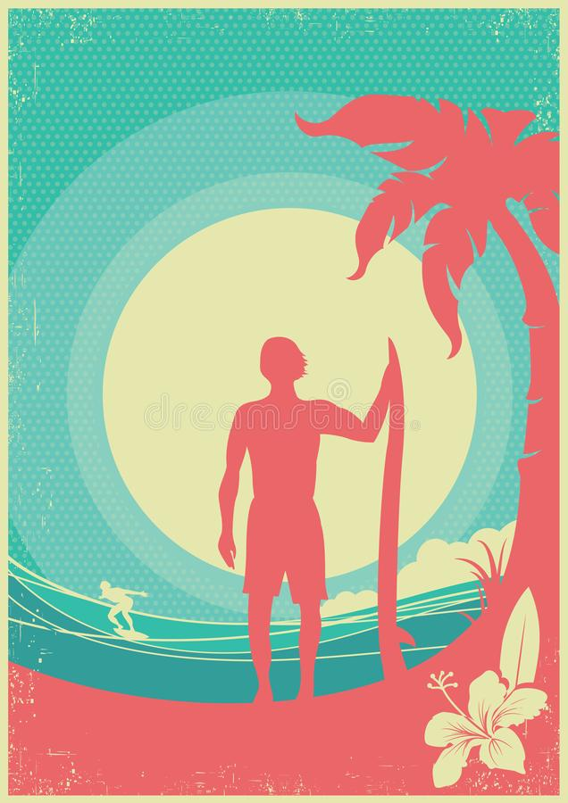 Surfer and sea waves tropical island.Vector poster background. Surfer and sea waves tropical island.Vector poster on vintage background vector illustration