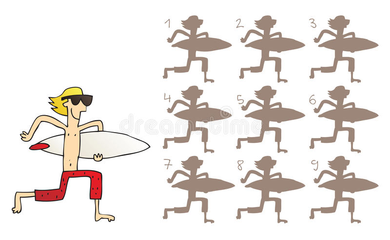 Surfer Shadows Visual Game royalty free illustration