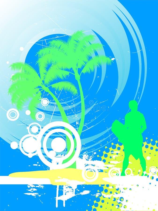 Surfer on summer background royalty free illustration