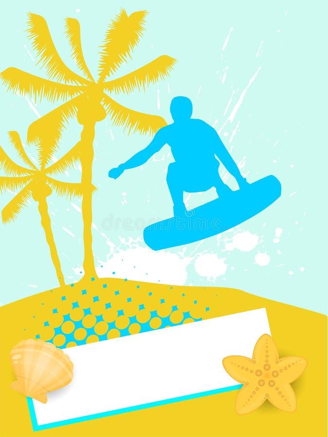 Surfer on summer background vector illustration