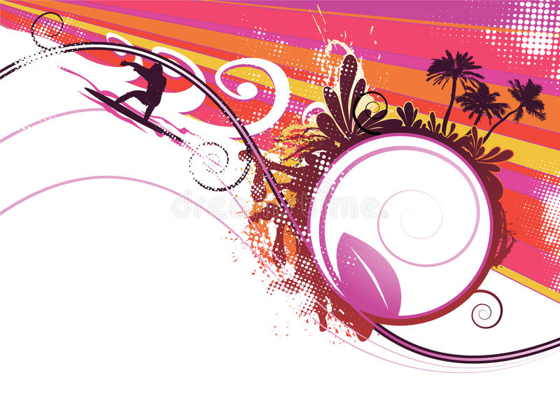 Surfer in summer vector background stock illustration
