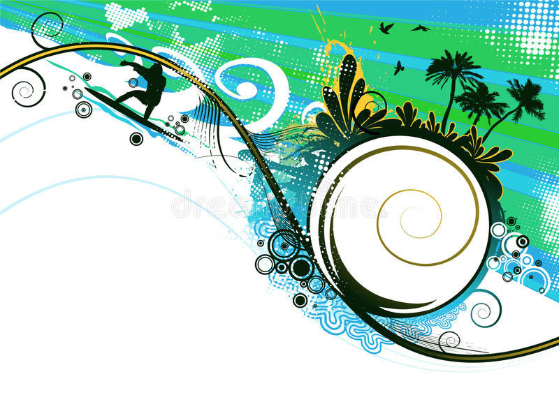 Download Surfer In Summer Vector Background Stock Vector - Illustration of holiday, exotic: 10147116