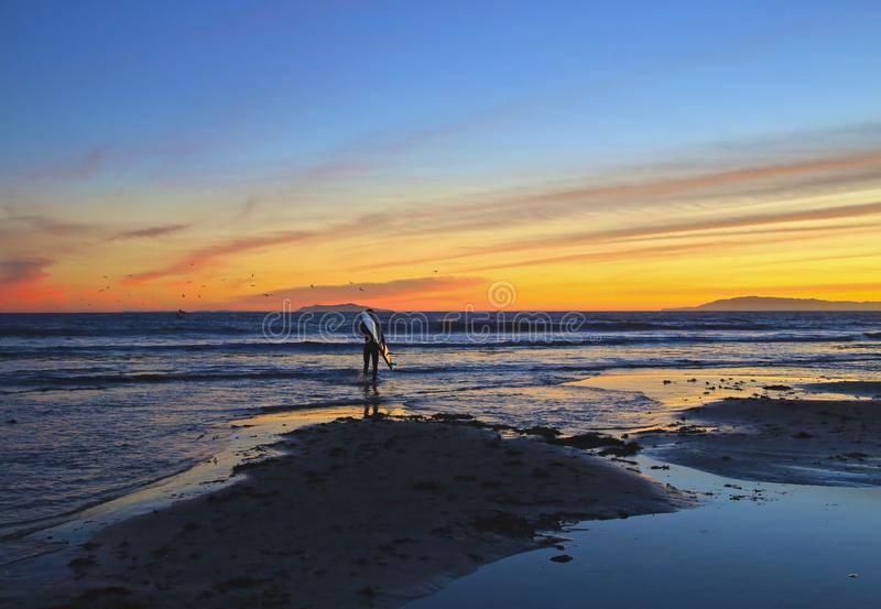 Surfer sunset Ventura California stock images