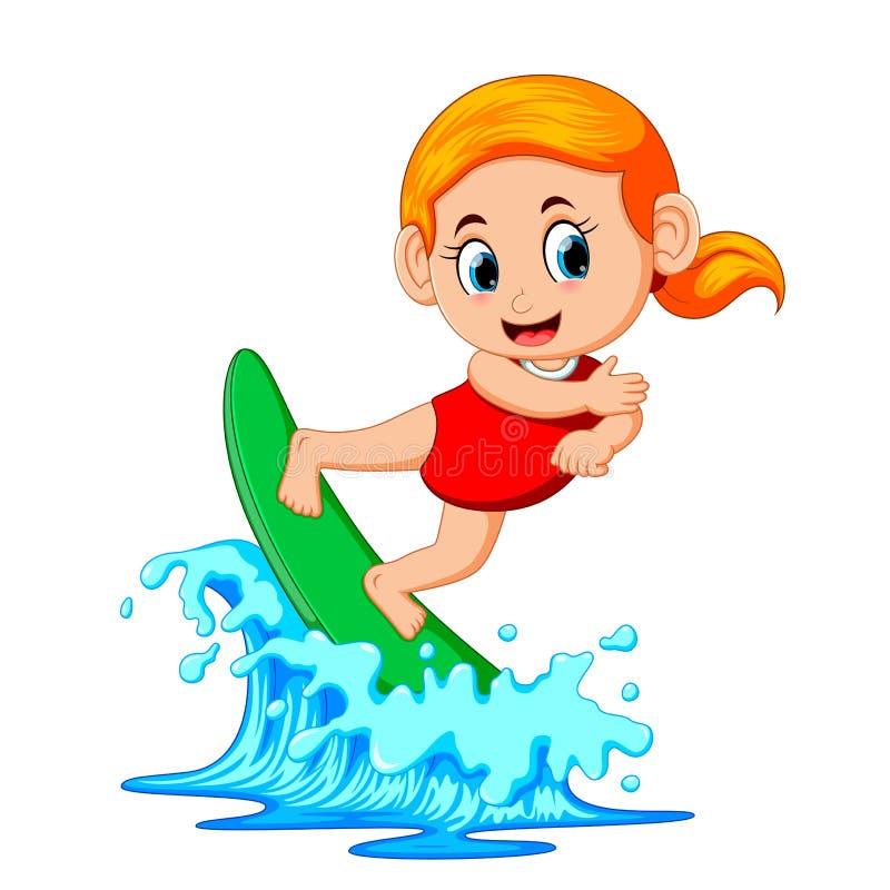 Surfer sur l'océan bleu illustration stock