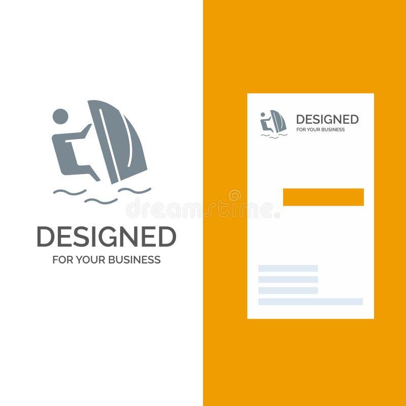 Surfer, Surfen, Wasser, Wind, Sport Grey Logo Design und Visitenkarte-Schablone lizenzfreie abbildung