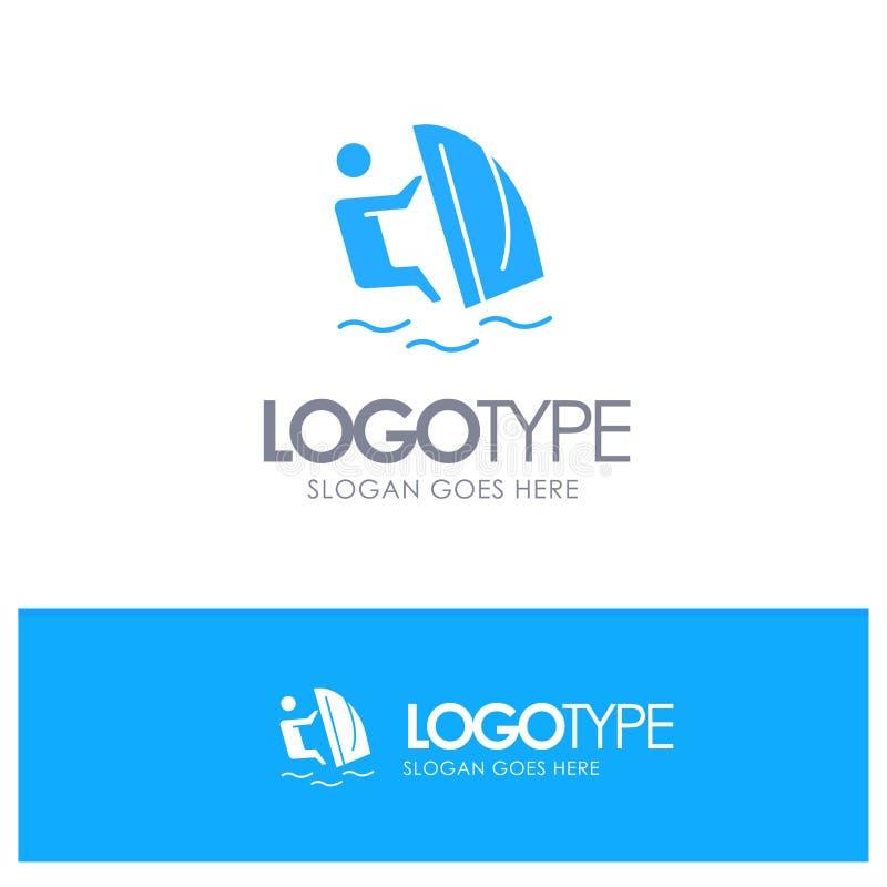 Surfer, surfend, Wasser, Wind, Sport-blaues festes Logo mit Platz für Tagline stock abbildung