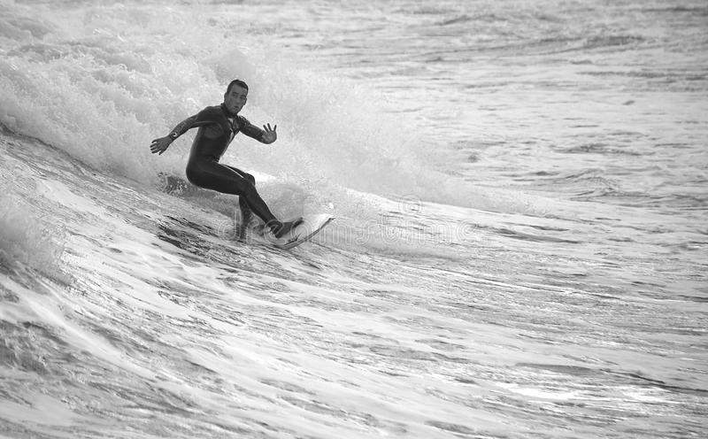 Surfer surfing in the sea stock images