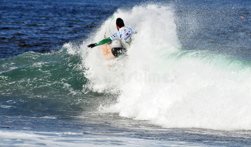 Surfer on top of a wave. At the weekend the O'Neill Cold Water Classic took place in East Thurso, Caithness, Scotland. The winner of the Event was Brent royalty free stock images