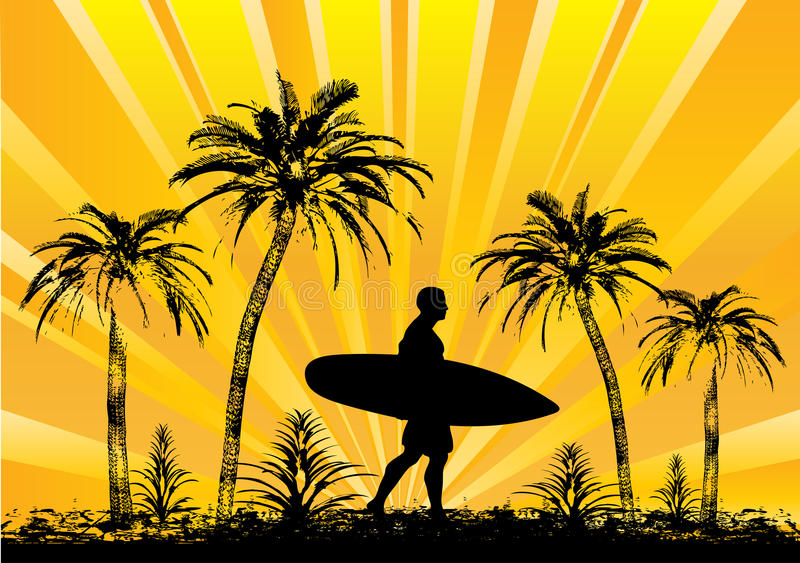 surfer tropical illustration libre de droits