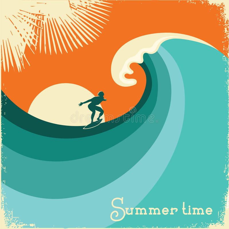 Surfer- und Seewelle Retro- Plakatillustration stock abbildung