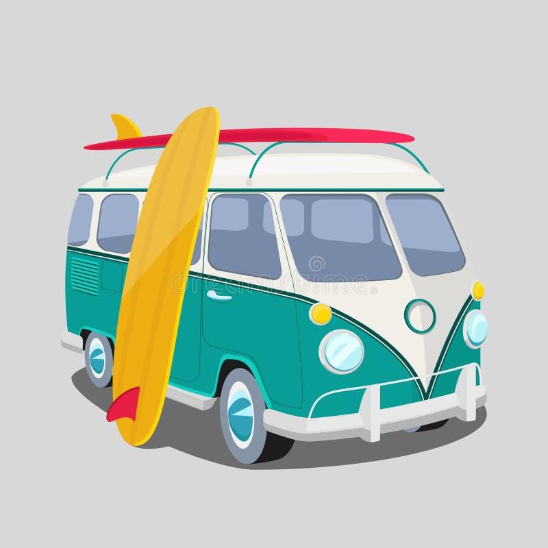 Surfer van poster ou graphiques de T-shirt illustration stock