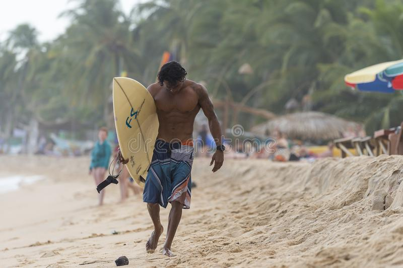 Surfer walking on the beach stock photography