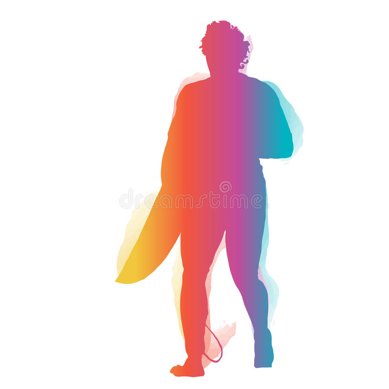Surfer walking with surfboard royalty free illustration