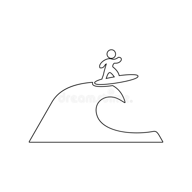 Surfer on the wave icon. Element of Beach for mobile concept and web apps icon. Outline, thin line icon for website design and. Development, app development on stock illustration