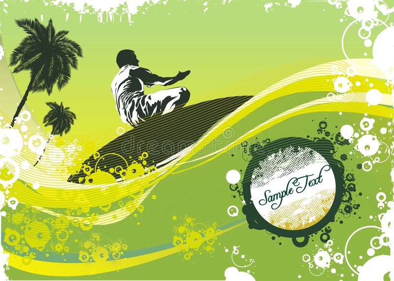 Surfer on waves. Palm trees & summer