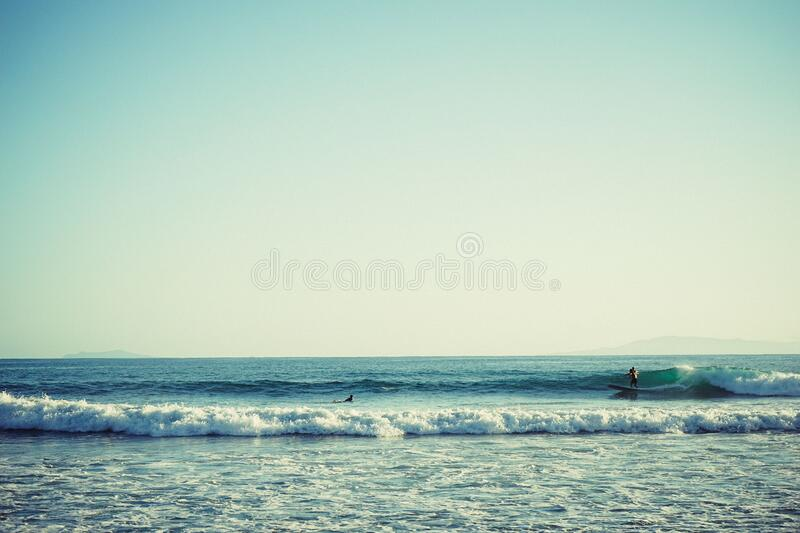 Surfer on waves royalty free stock photos