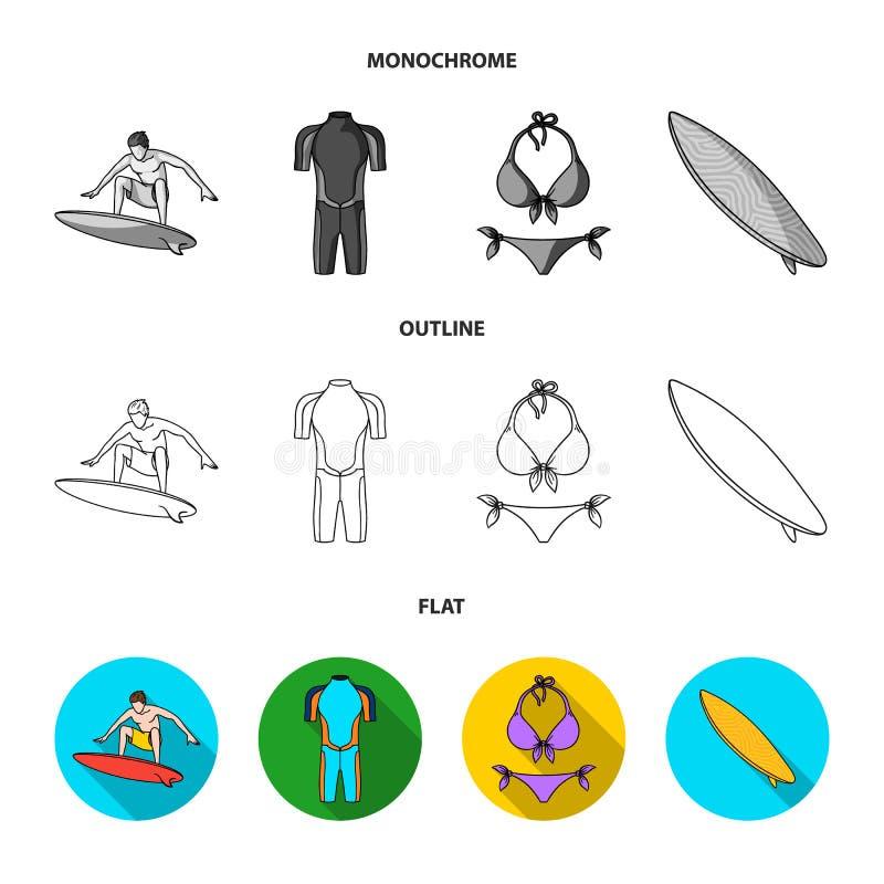 Surfer, Wetsuit, Bikini, Surfbrett Surfende gesetzte Sammlungsikonen in der Ebene, Entwurf, einfarbiger Artvektor-Symbolvorrat lizenzfreie abbildung