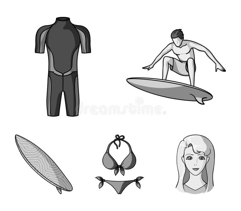 Surfer, Wetsuit, Bikini, Surfbrett Surfende gesetzte Sammlungsikonen in der einfarbigen Art vector Illustration des Symbols auf L vektor abbildung