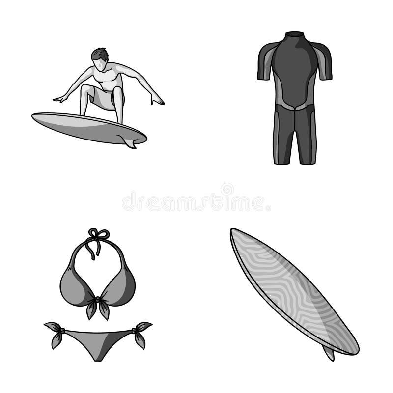 Surfer, Wetsuit, Bikini, Surfbrett Surfende gesetzte Sammlungsikonen in der einfarbigen Art vector Illustration des Symbols auf L lizenzfreie abbildung