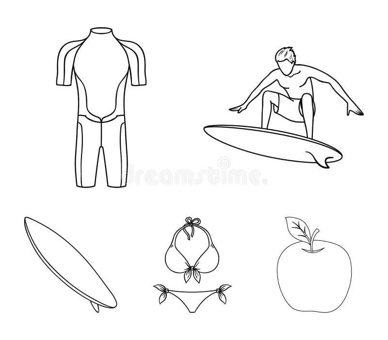 Surfer, Wetsuit, Bikini, Surfbrett Surfende gesetzte Sammlungsikonen in der Entwurfsart vector Illustrationsnetz des Symbols auf  lizenzfreie abbildung