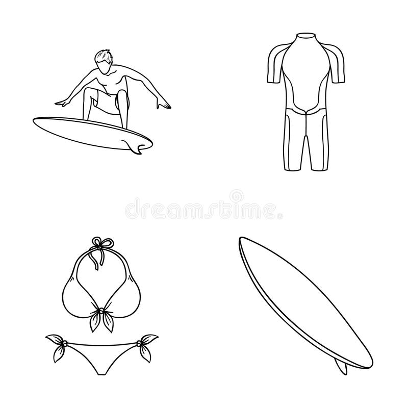 Surfer, Wetsuit, Bikini, Surfbrett Surfende gesetzte Sammlungsikonen in der Entwurfsart vector Illustrationsnetz des Symbols auf  vektor abbildung