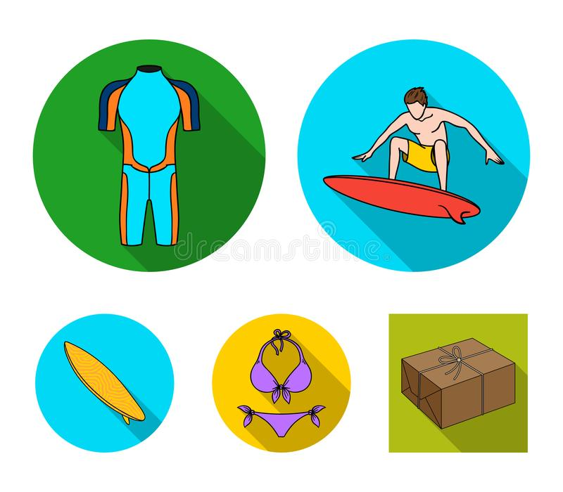 Surfer, Wetsuit, Bikini, Surfbrett Surfende gesetzte Sammlungsikonen in der flachen Art vector Illustrationsnetz des Symbols auf  vektor abbildung