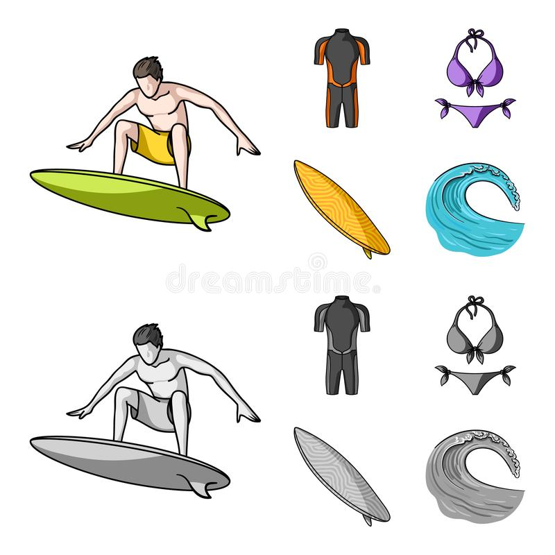 Surfer, Wetsuit, Bikini, Surfbrett Surfende gesetzte Sammlungsikonen in der Karikatur, einfarbiger Artvektor-Symbolvorrat lizenzfreie abbildung
