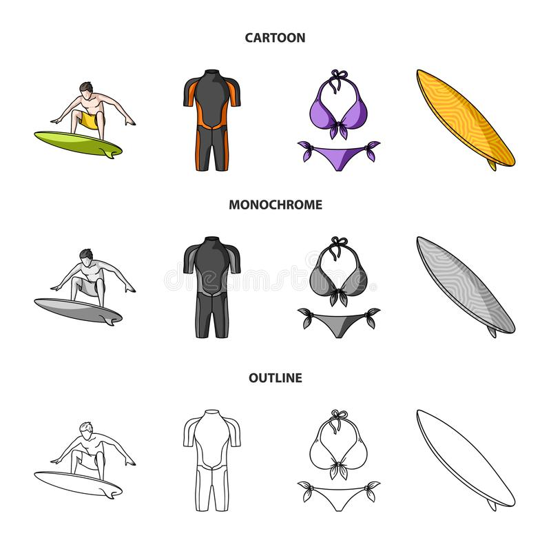 Surfer, Wetsuit, Bikini, Surfbrett Surfende gesetzte Sammlungsikonen in der Karikatur, Entwurf, einfarbiger Artvektor-Symbolvorra vektor abbildung
