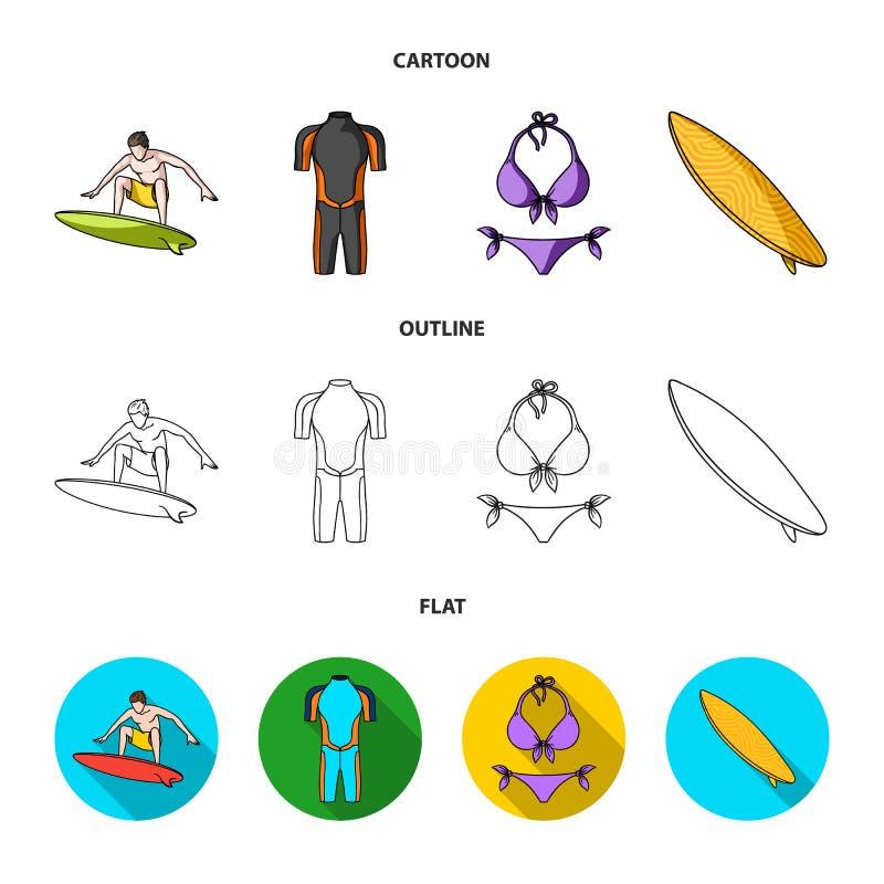 Surfer, Wetsuit, Bikini, Surfbrett Surfende gesetzte Sammlungsikonen in der Karikatur, Entwurf, flacher Artvektor-Symbolvorrat lizenzfreie abbildung