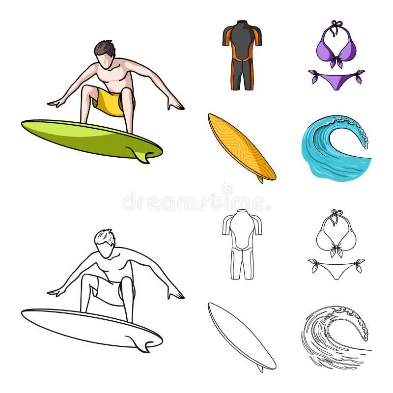 Surfer, Wetsuit, Bikini, Surfbrett Surfende gesetzte Sammlungsikonen in der Karikatur, Entwurfsartvektor-Symbolvorrat stock abbildung