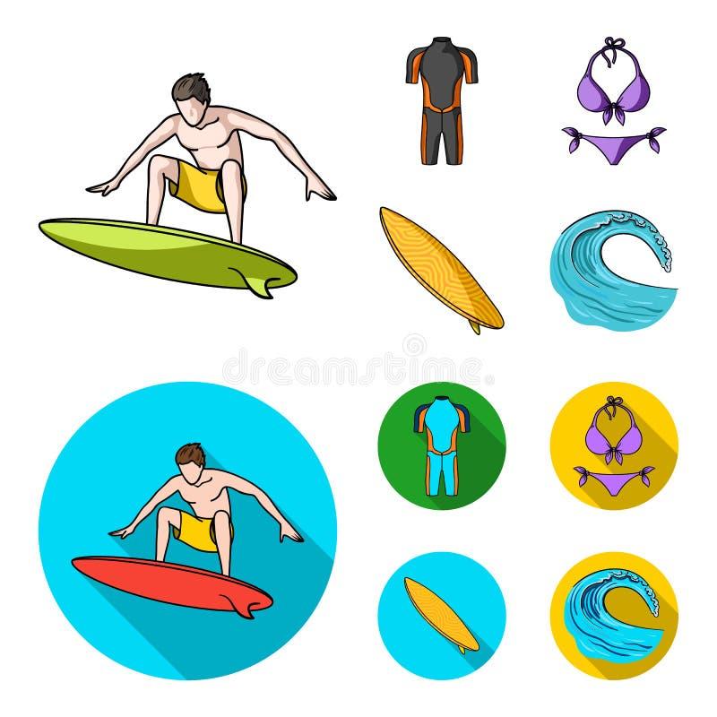 Surfer, Wetsuit, Bikini, Surfbrett Surfende gesetzte Sammlungsikonen in der Karikatur, flache Artvektorsymbol-Vorratillustration lizenzfreie abbildung