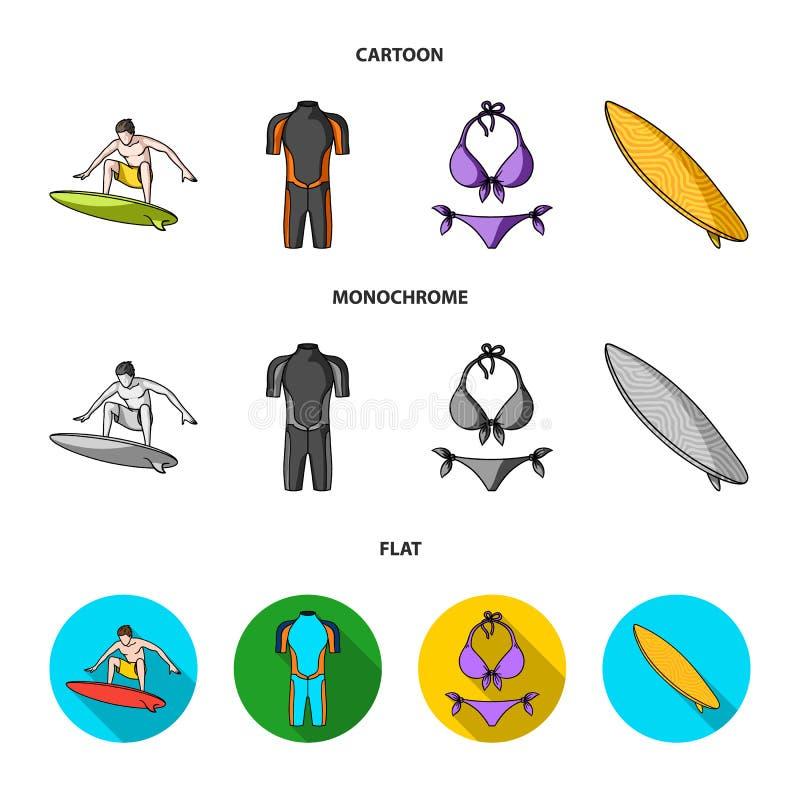 Surfer, Wetsuit, Bikini, Surfbrett Surfende gesetzte Sammlungsikonen in der Karikatur, flacher, einfarbiger Artvektor-Symbolvorra vektor abbildung