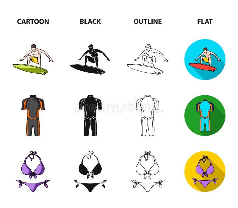 Surfer, Wetsuit, Bikini, Surfbrett Surfende gesetzte Sammlungsikonen in der Karikatur, Schwarzes, Entwurf, flacher Artvektor-Symb stock abbildung