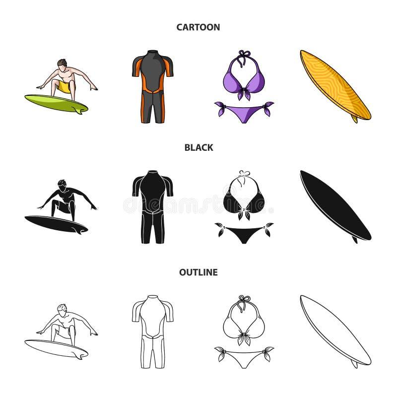 Surfer, Wetsuit, Bikini, Surfbrett Surfende gesetzte Sammlungsikonen in der Karikatur, Schwarzes, Entwurfsartvektor-Symbolvorrat lizenzfreie abbildung