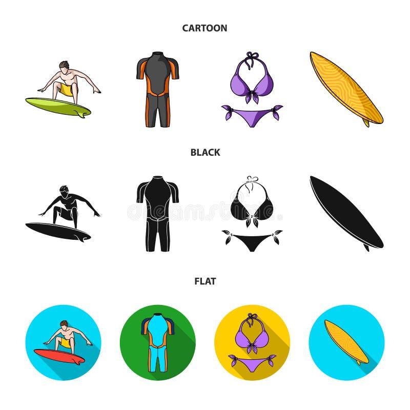 Surfer, Wetsuit, Bikini, Surfbrett Surfende gesetzte Sammlungsikonen in der Karikatur, Schwarzes, flacher Artvektor-Symbolvorrat lizenzfreie abbildung