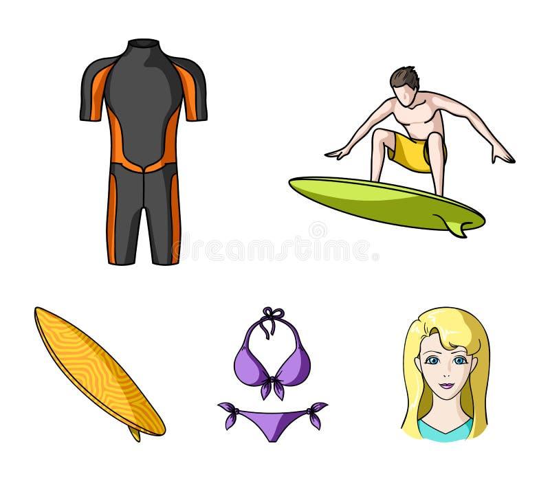 Surfer, Wetsuit, Bikini, Surfbrett Surfende gesetzte Sammlungsikonen in der Karikaturart vector Illustrationsnetz des Symbols auf stock abbildung