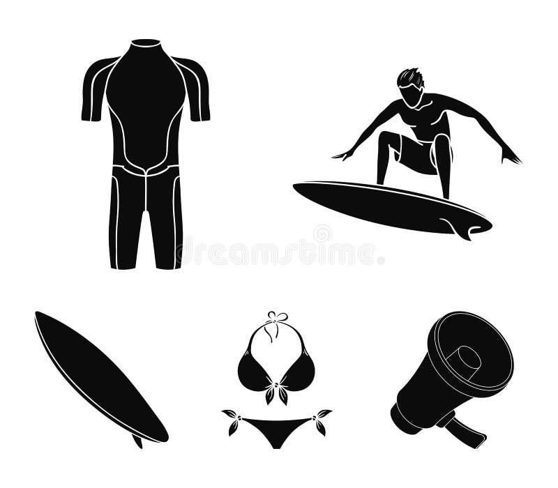 Surfer, Wetsuit, Bikini, Surfbrett Surfende gesetzte Sammlungsikonen in der schwarzen Art vector Illustrationsnetz des Symbols au vektor abbildung