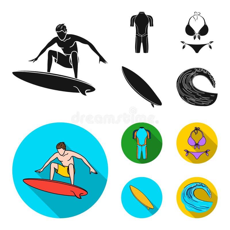 Surfer, Wetsuit, Bikini, Surfbrett Surfende gesetzte Sammlungsikonen in der schwarzen, flachen Artvektorsymbol-Vorratillustration stock abbildung